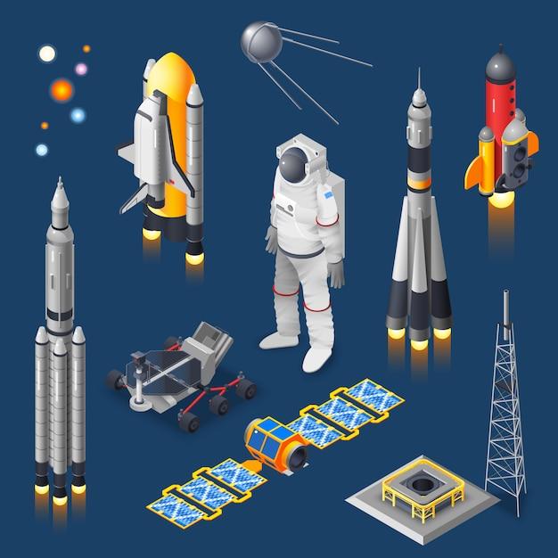 Космический изометрический набор Бесплатные векторы