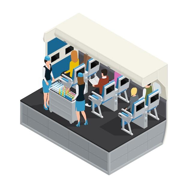 Цветной самолет интерьер изометрическая композиция с обедом Бесплатные векторы
