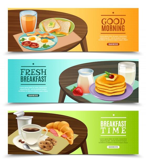 朝食の水平方向のバナーセット 無料ベクター