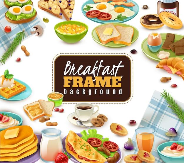 朝食フレームの背景 無料ベクター