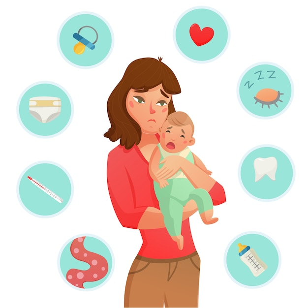 Плач младенца причины состав Бесплатные векторы