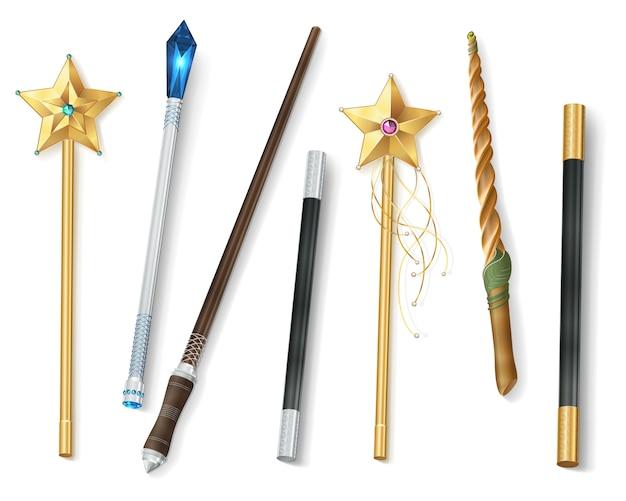 Волшебная палочка реалистичный набор Бесплатные векторы