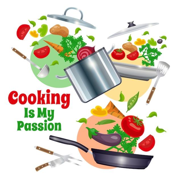 台所用品や野菜の組成 無料ベクター
