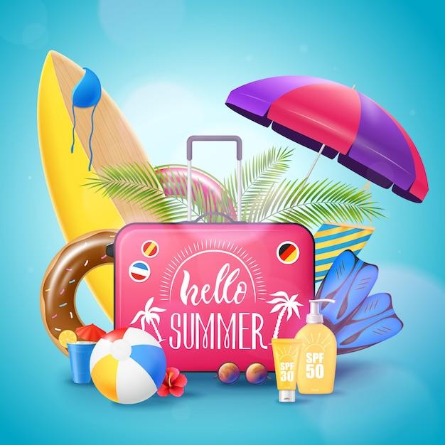 Летний пляж отпуск фоновый плакат Бесплатные векторы