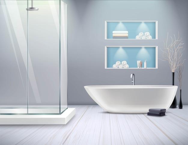 リアルなバスルームのインテリア 無料ベクター