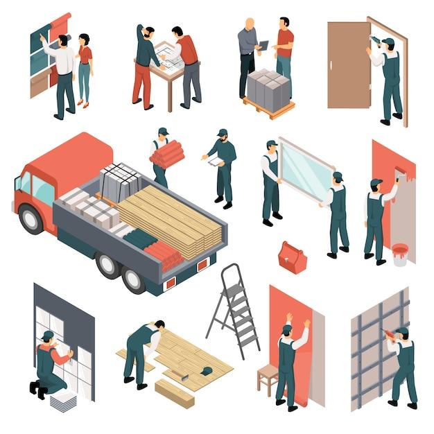 Изометрические квартиры ремонт набор Бесплатные векторы