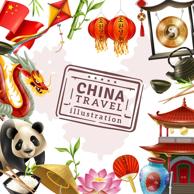 中国旅行フレームの背景 無料ベクター