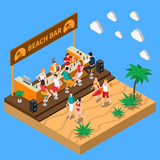 Пляжный бар изометрическая композиция Бесплатные векторы