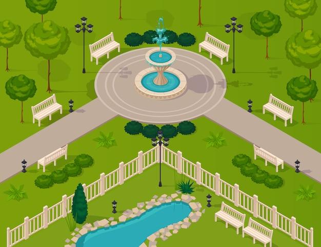 Фрагмент городского парка пейзаж Бесплатные векторы