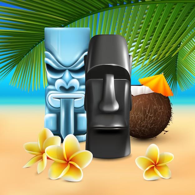 カフナハワイアンビーチコンポジション 無料ベクター