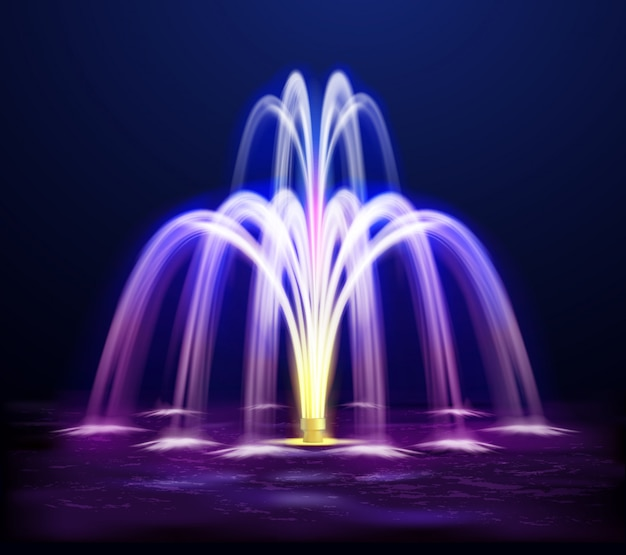 夜の噴水のリアルなイラスト 無料ベクター