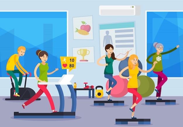Фитнес тренинг люди ортогональная композиция Бесплатные векторы