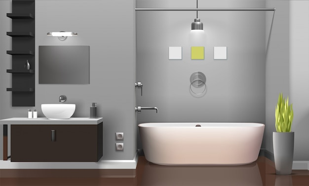モダンなリアルなバスルームのインテリアデザイン 無料ベクター