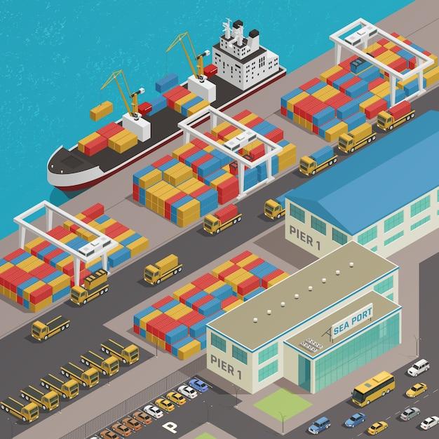 貨物船が港に係留 無料ベクター