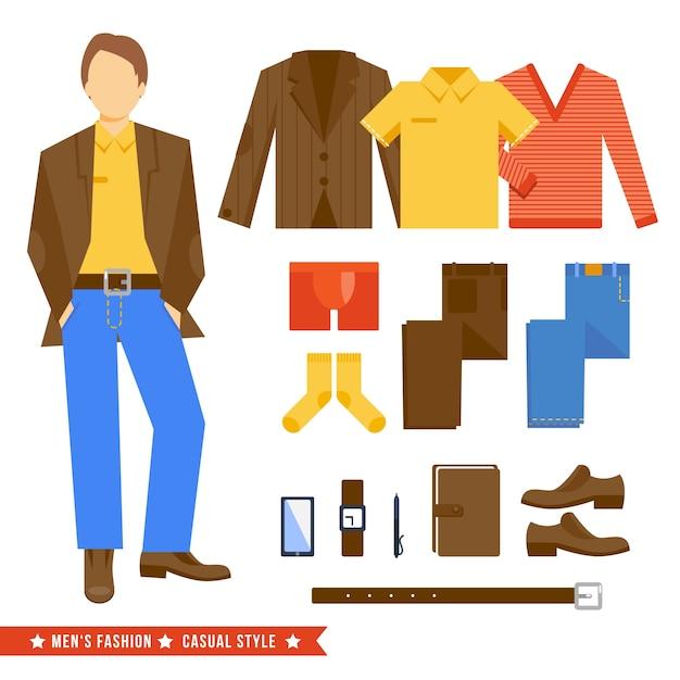 Мужская коллекция одежды Premium векторы