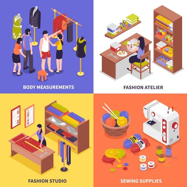 ファッションアトリエデザインコンセプト 無料ベクター
