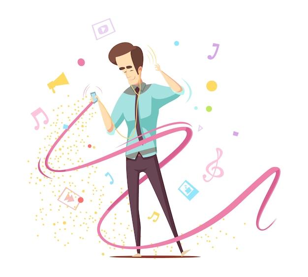 Человек слушает музыку Бесплатные векторы