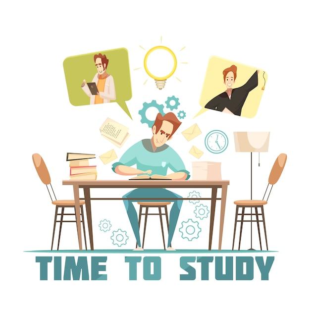Студент сидит за столом Бесплатные векторы