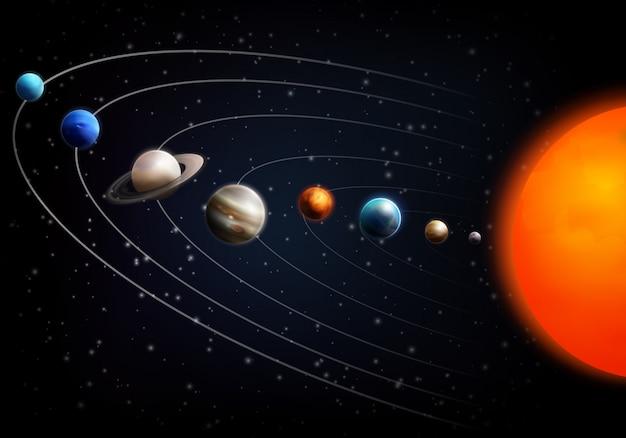 Реалистичный космический фон со всеми планетами Бесплатные векторы
