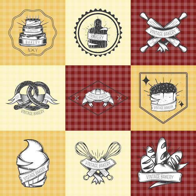 Набор хлебобулочных винтажных композиций Бесплатные векторы