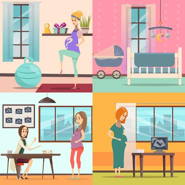 妊娠のアイコンを設定 無料ベクター