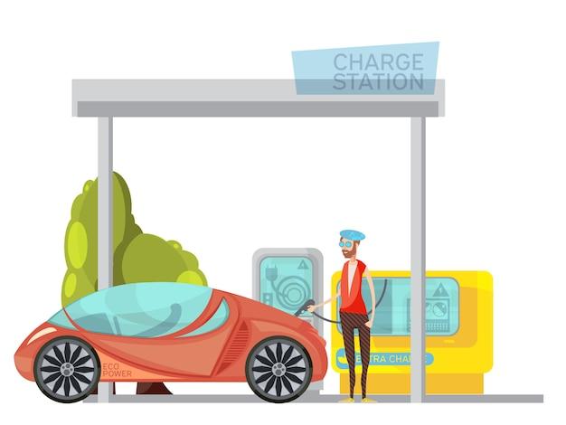 エコフレンドリーな電気自動車と白い背景の上の充電ステーションでその所有者 無料ベクター