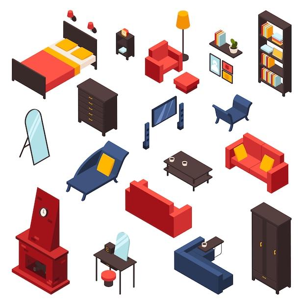 リビングルームの家具のアイコンを設定 無料ベクター
