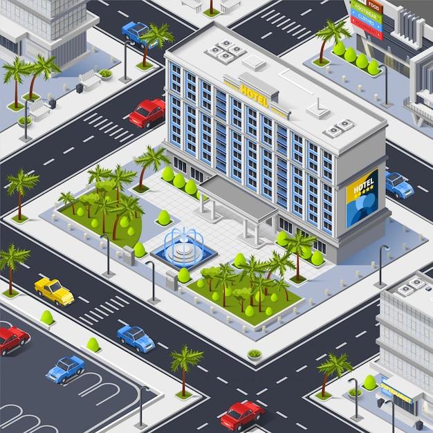 高級ホテルの建物と街の断片 無料ベクター