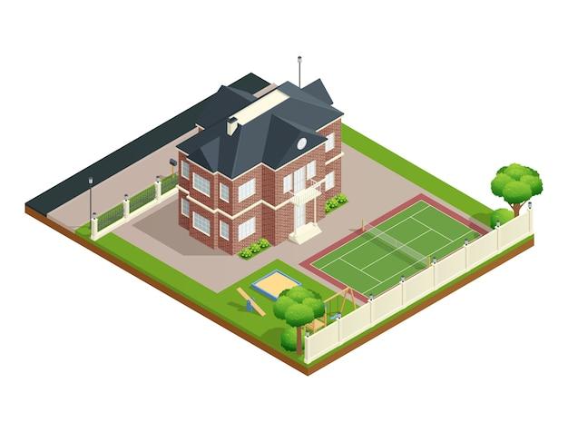 Пригородный дом изометрии с садовой лужайкой, детской площадкой и теннисным кортом Бесплатные векторы