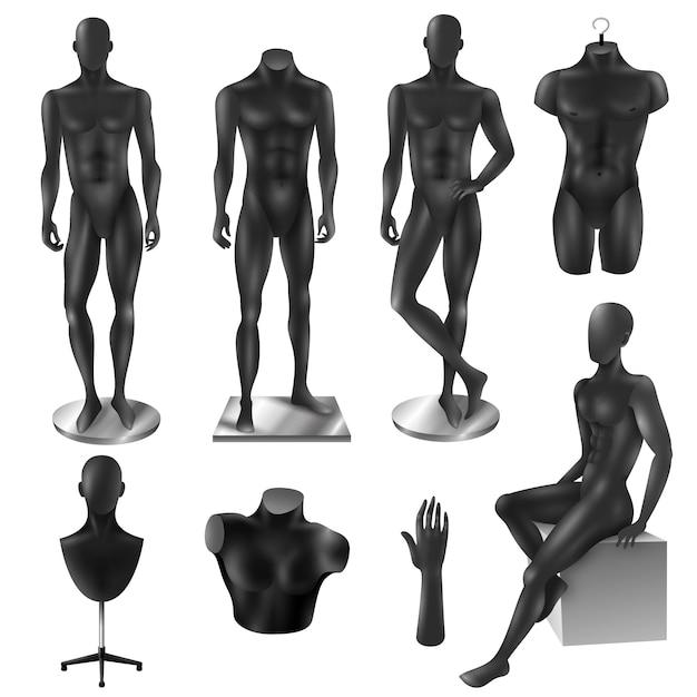 マネキン男性のリアルな黒の画像セット 無料ベクター