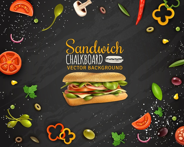 Свежий бутерброд доске фон рекламный плакат Бесплатные векторы