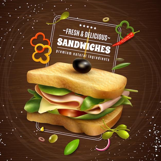 新鮮なサンドイッチの木製の背景広告ポスター 無料ベクター
