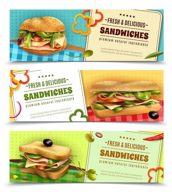 Здоровые свежие сэндвичи рекламные баннеры набор Бесплатные векторы