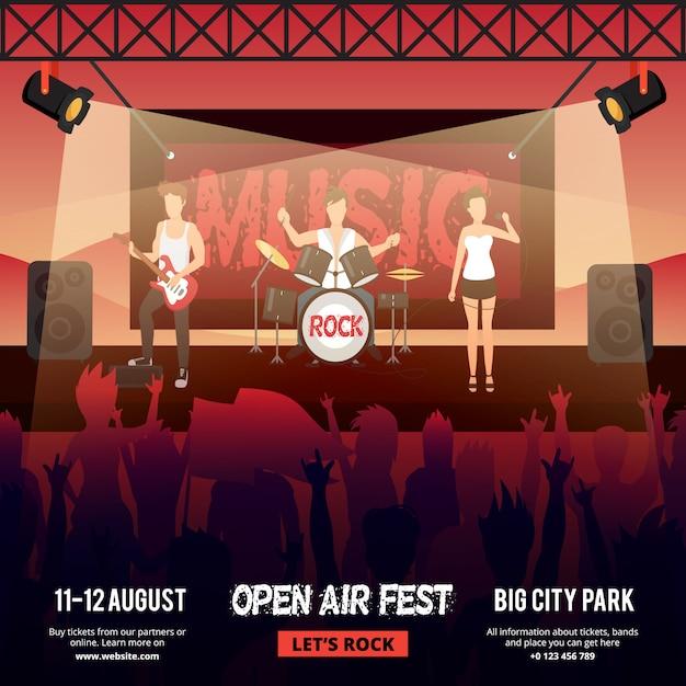 観客の前でステージで実行する女性向けロックミュージックバンドと祭り広場バナー 無料ベクター