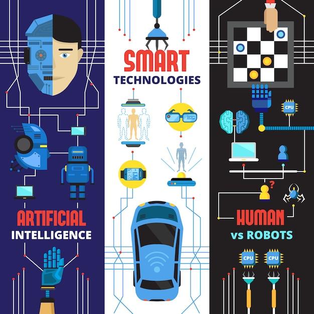 サイボーグロボットと未来技術要素の人工知能垂直バナーコレクション 無料ベクター
