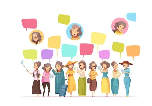 年配の高齢者の女性オンライン活動レトロな漫画構成ポスターのアバターとチャットメッセージ泡ベクトルイラスト 無料ベクター