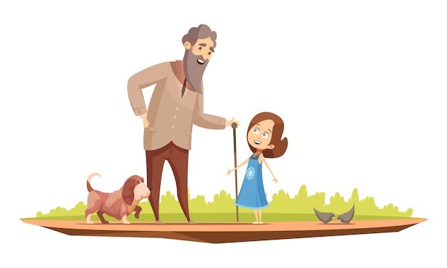 Старик старший персонаж с тростью, ходьба с маленькой девочкой и собачкой за пределами ретро мультфильм плакат векторная иллюстрация Бесплатные векторы