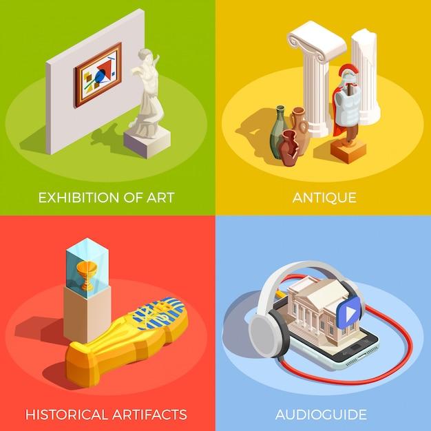 Концепция дизайна музея антиквариата Бесплатные векторы