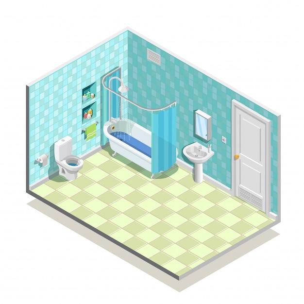 等尺性バスルームの構成 無料ベクター