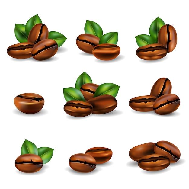 Кофе в зернах реалистичный набор Бесплатные векторы