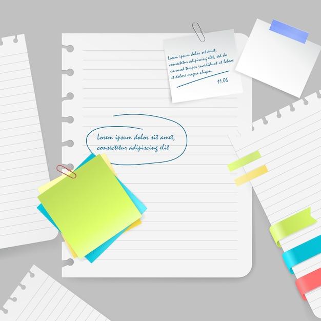 Реалистичная композиция из красочных чистых листов и кусочков бумаги с заметками и лентой на сером фоне векторных иллюстраций Бесплатные векторы