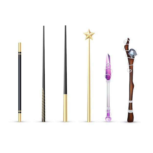 白い背景のベクトル図に分離された異なるサイズとデザインの現実的なセットのカラフルな魔法の杖 無料ベクター