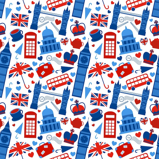 Бесшовные фон с фоном в лондоне и векторные иллюстрации в великобритании Бесплатные векторы