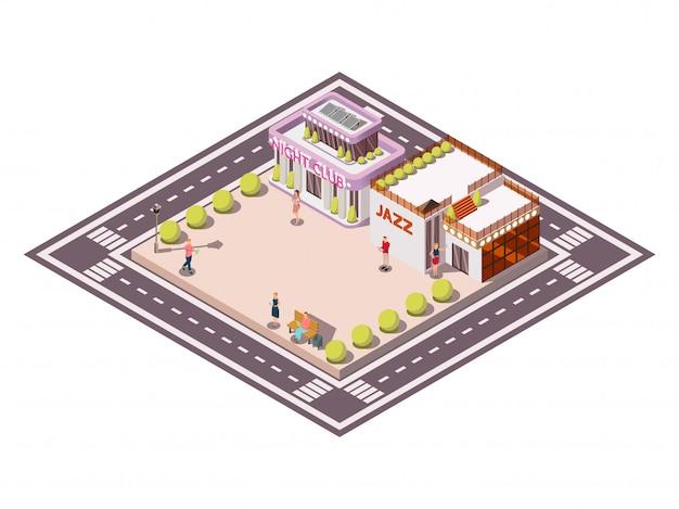 Изометрическая композиция городской площади, ограниченная проезжей частью с клубом джазовых зданий садовых кроватей и людей векторная иллюстрация Бесплатные векторы
