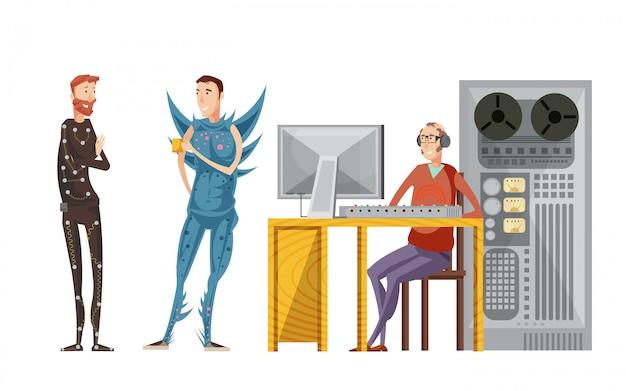 オーディオ機器と俳優の衣装で分離されたベクトル図でエンジニアと映画の録音を設定 無料ベクター
