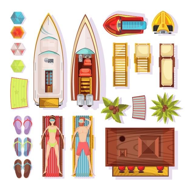Пляжный вид сверху, включая людей на шезлонгах, тапочках, зонтиках, лодках, водных мотоциклах, бар, векторная иллюстрация Бесплатные векторы