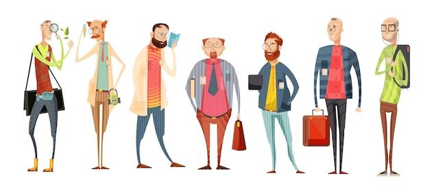 Команда учителей ретро мультфильм коллекция с разнообразием мужчин в очках с значками, изолированных векторная иллюстрация Бесплатные векторы