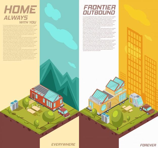 山、都市の建物の分離ベクトル図を背景にモバイルハウスの広告と垂直等尺性バナー 無料ベクター