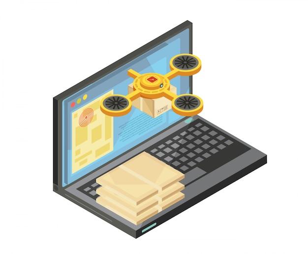 キーボード上のパッケージ、ノートパソコンの画面上の商品の場所のベクトル図を含むインターネット等尺性組成物による配達追跡 無料ベクター