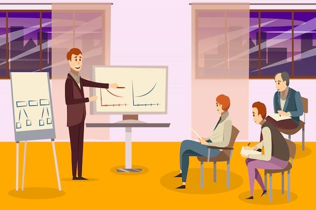Бизнес тренинг композиция Бесплатные векторы